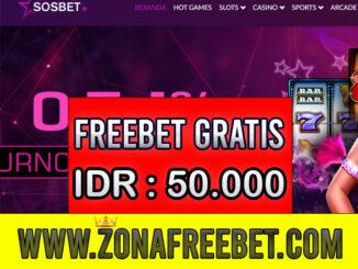SOSBet Freebet Gratis Rp 50.000 Tanpa Deposit